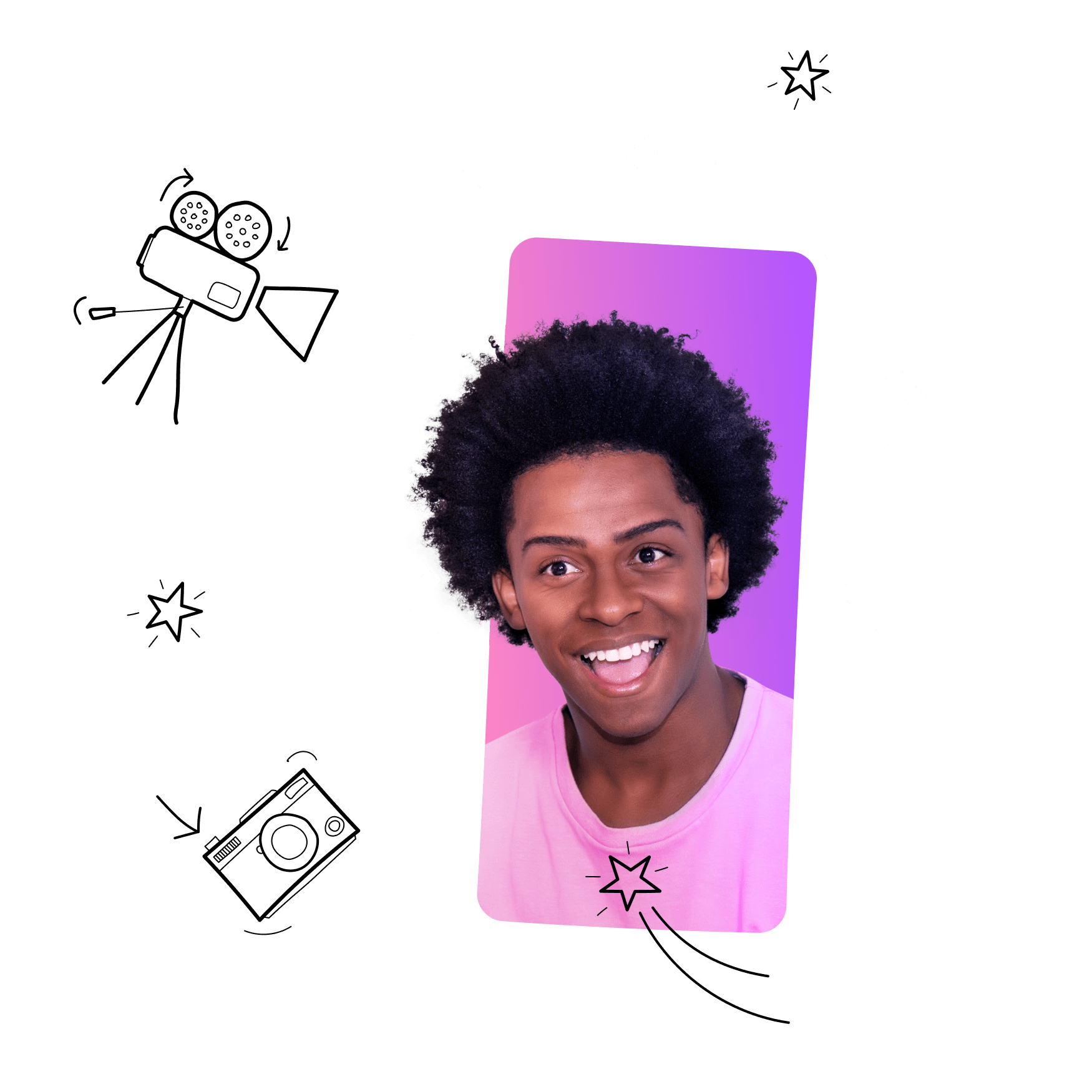A smartphone illustration with a photo of a young man smiling.