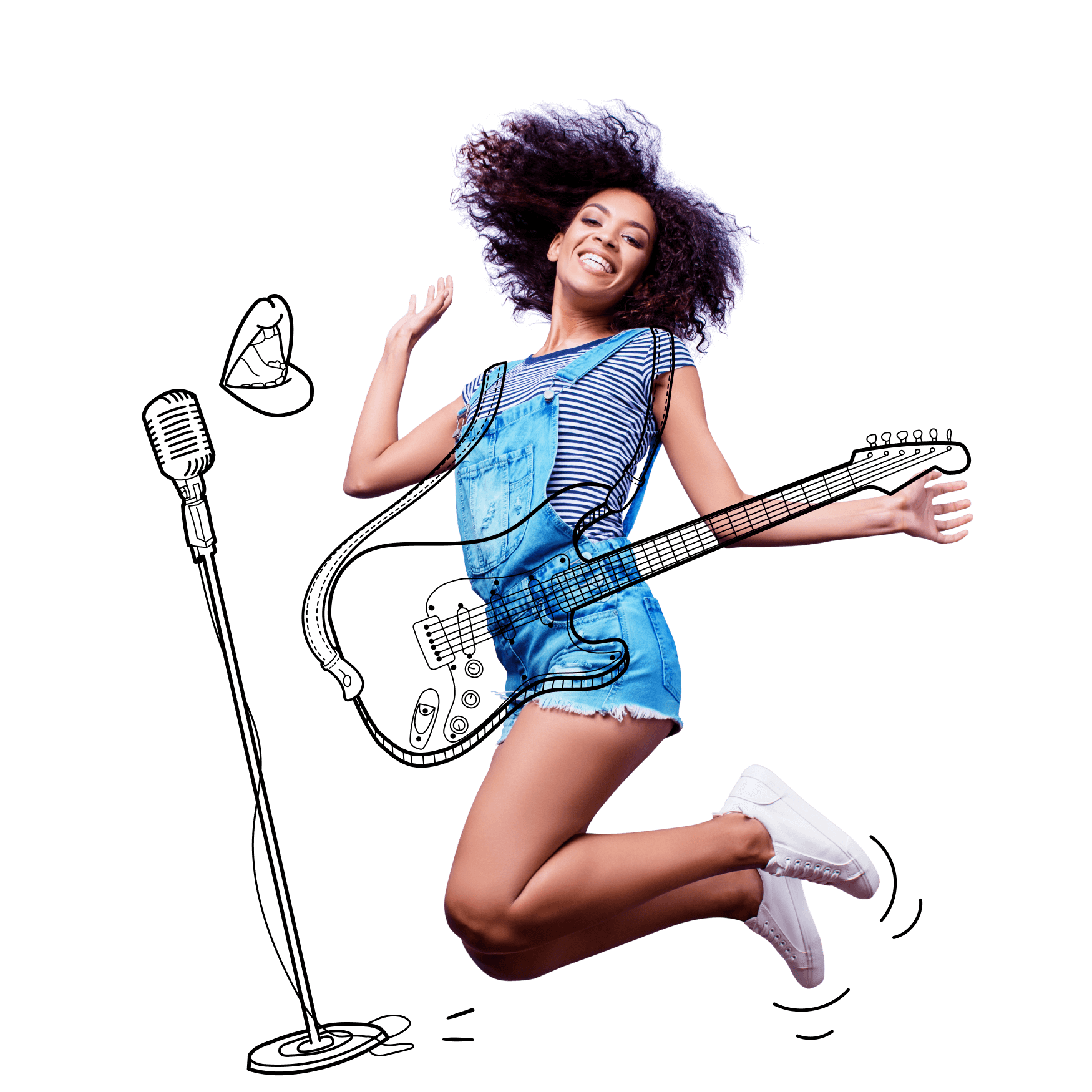 Young singer jumping in the air, with illustrated guitar and microphone.