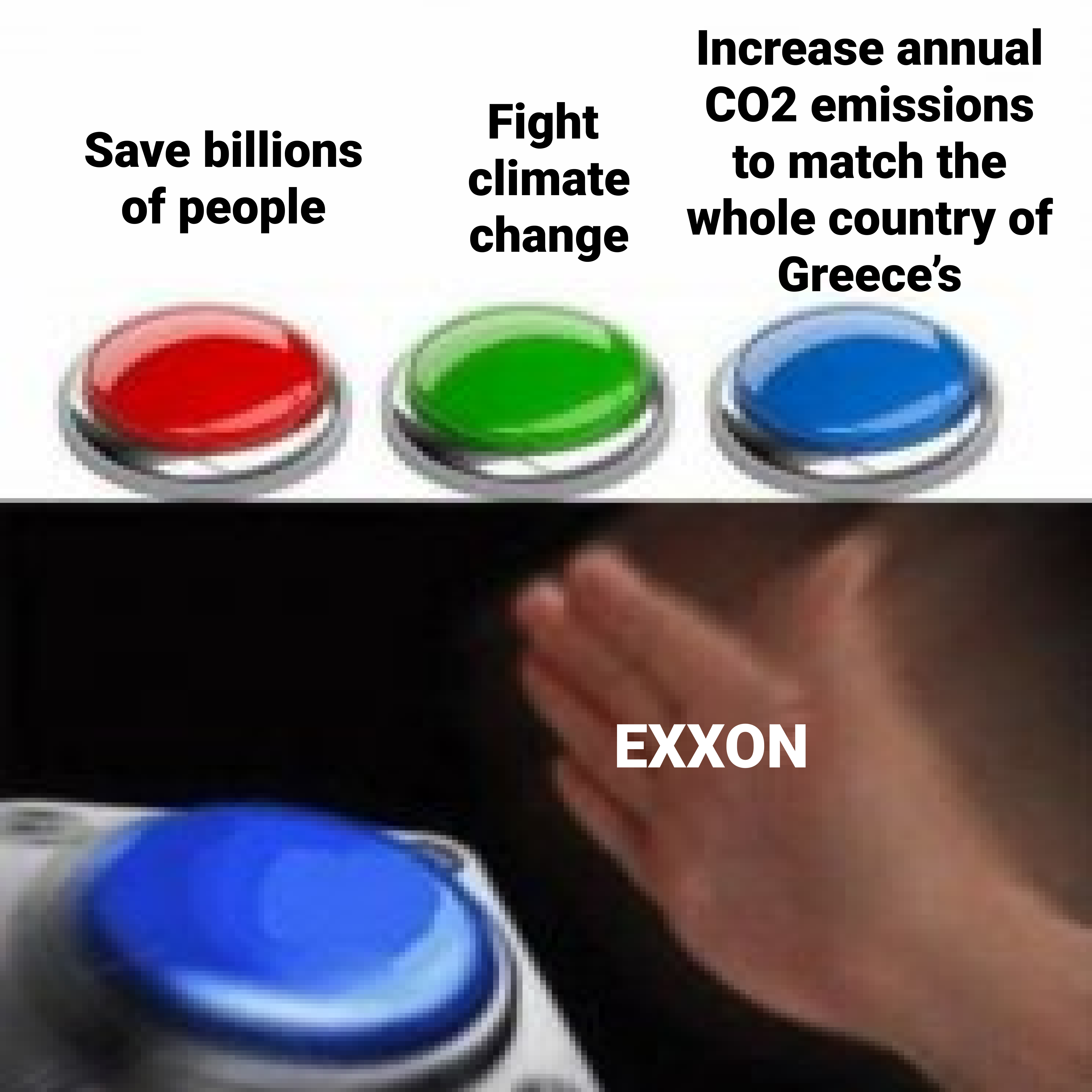 Meme of the button and big oil choosing to destroy the climate instead of reduce emissions