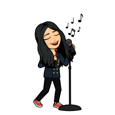 Bitmoji of HSY standing at a microphone