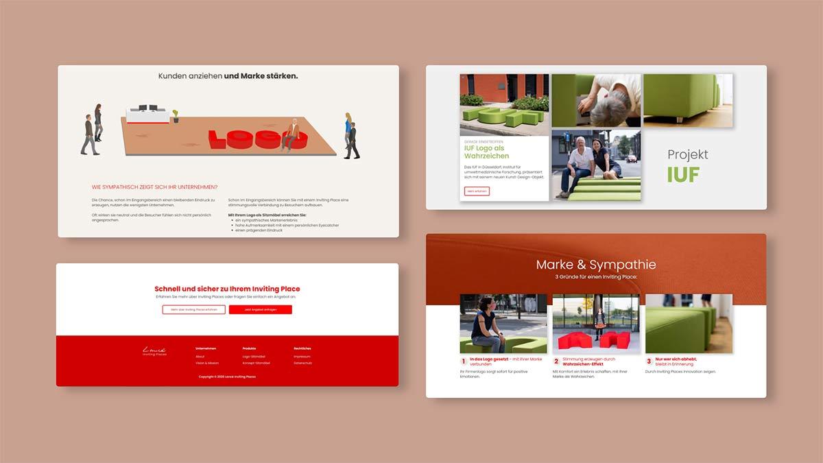 Website Design Entwürfe Sammlung Seite Bereiche
