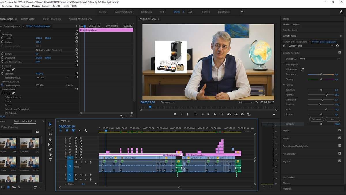 Video Schnitt Videoschnitt Adobe Premiere Pro Editing Lanterno - Design & Video für Unternehmen