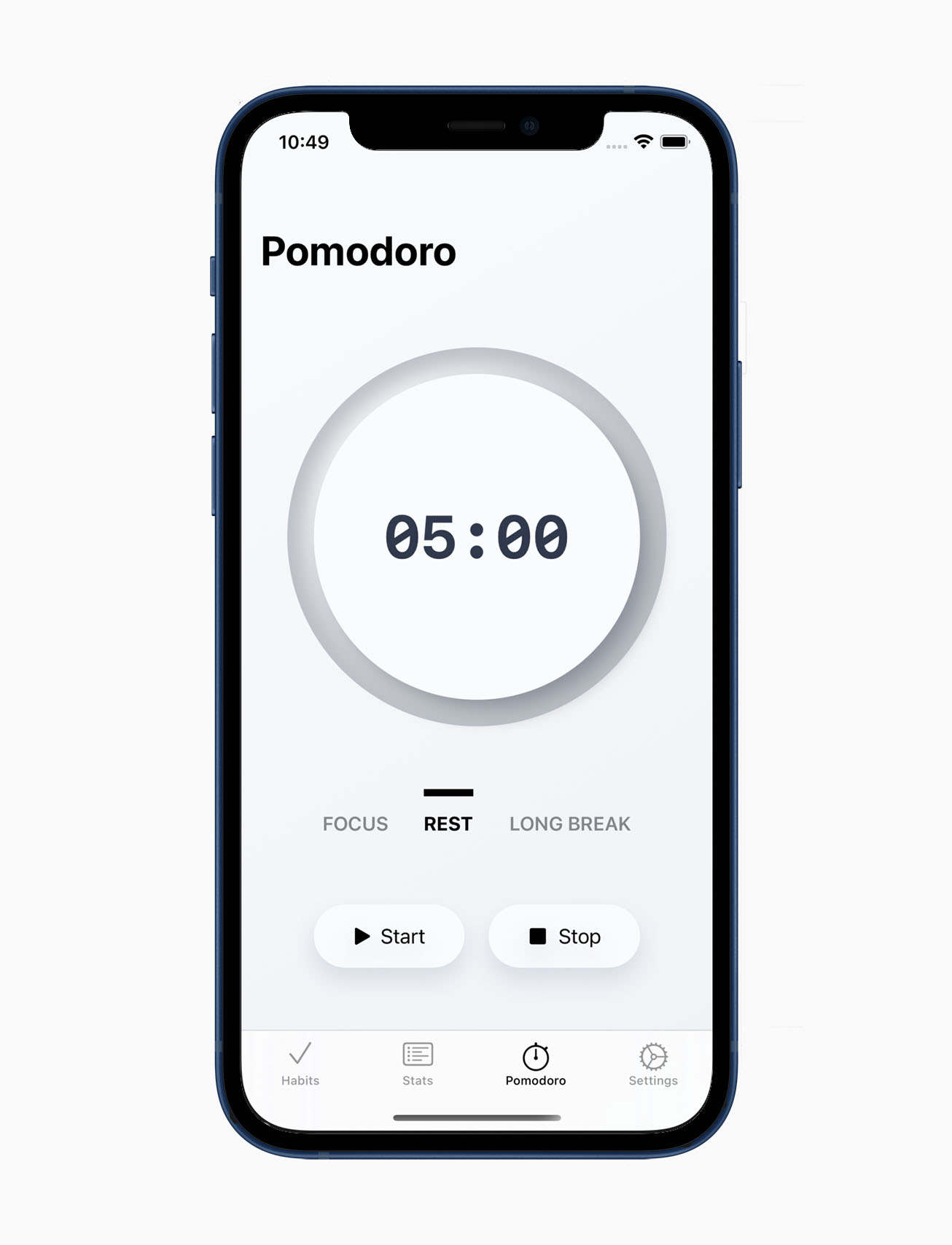 Pomodoro technique in habit tracker app