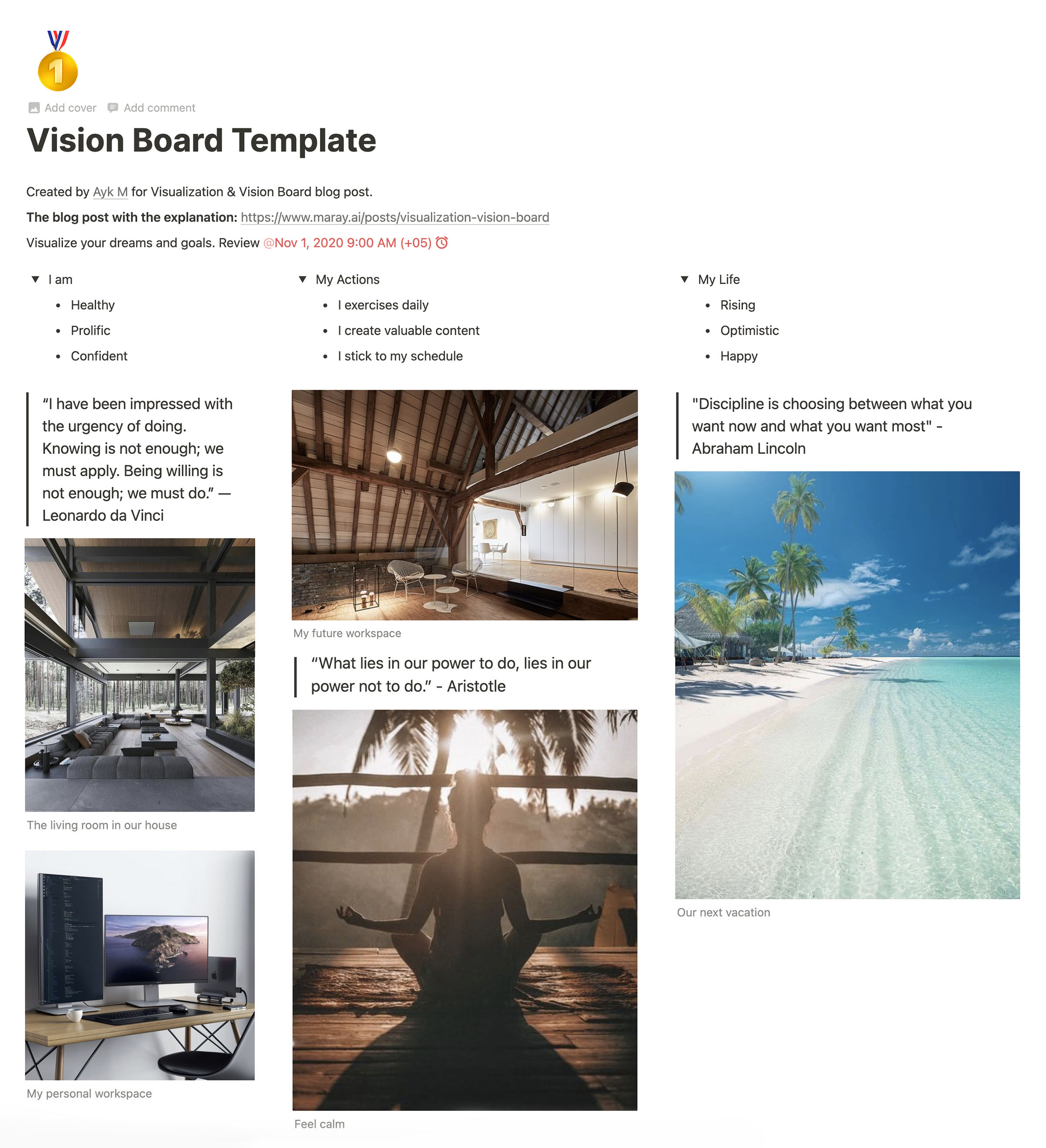 Vision board in Notion