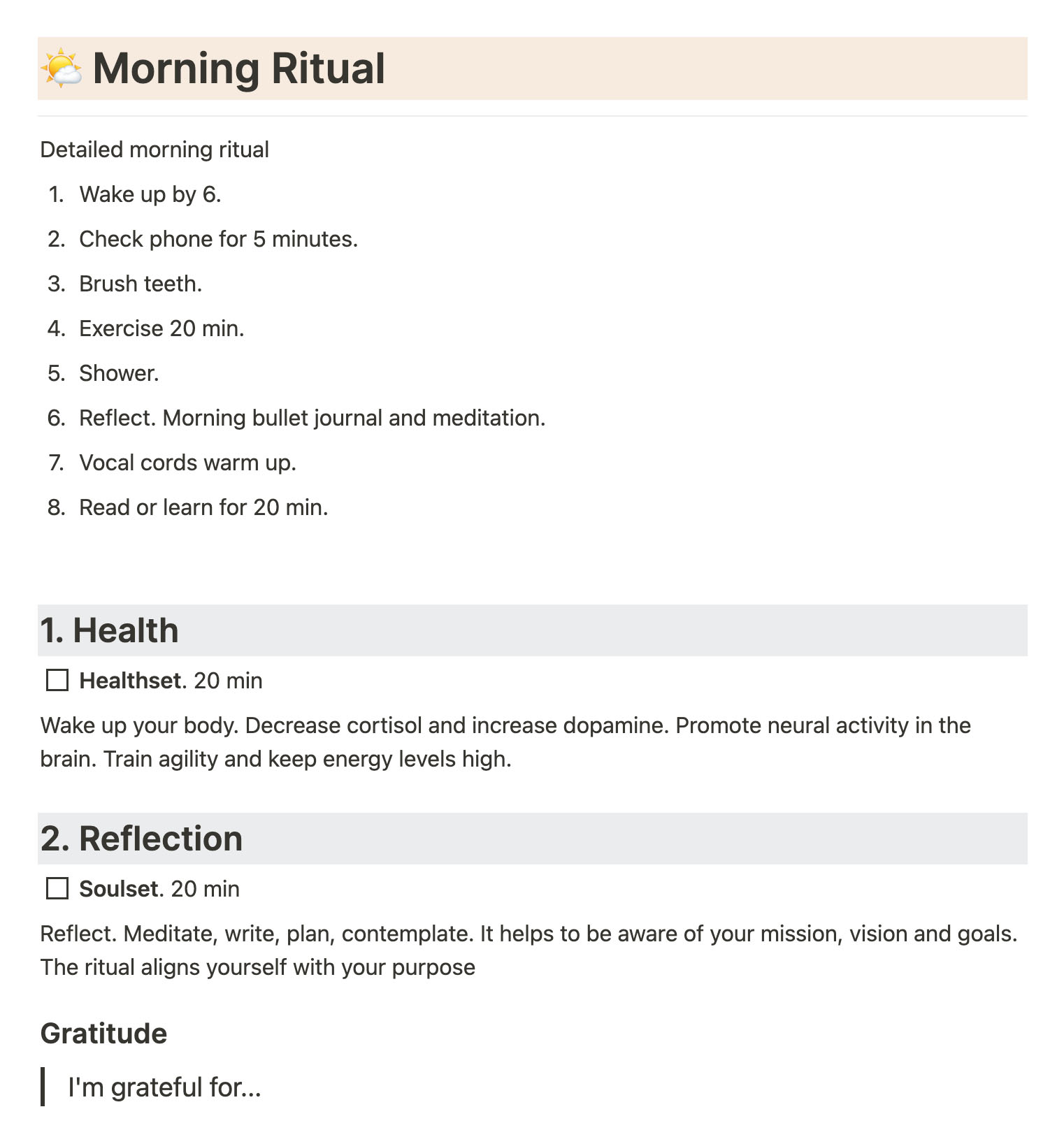 My morning ritual template in Notion