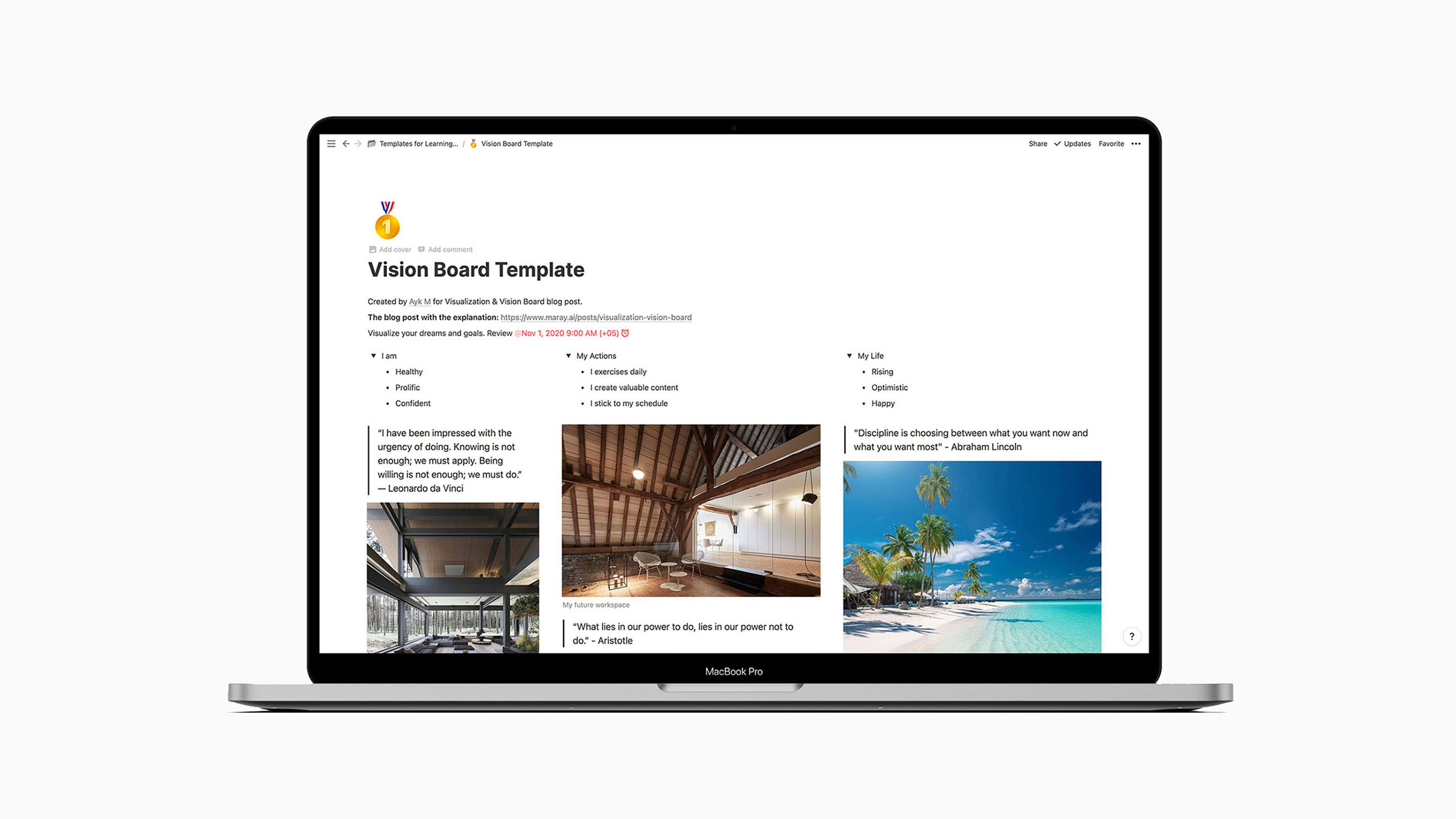 In this article, I will explain how to make a digital vision board and share a strategy to make it even more powerful using a goal-setting system in Notion.