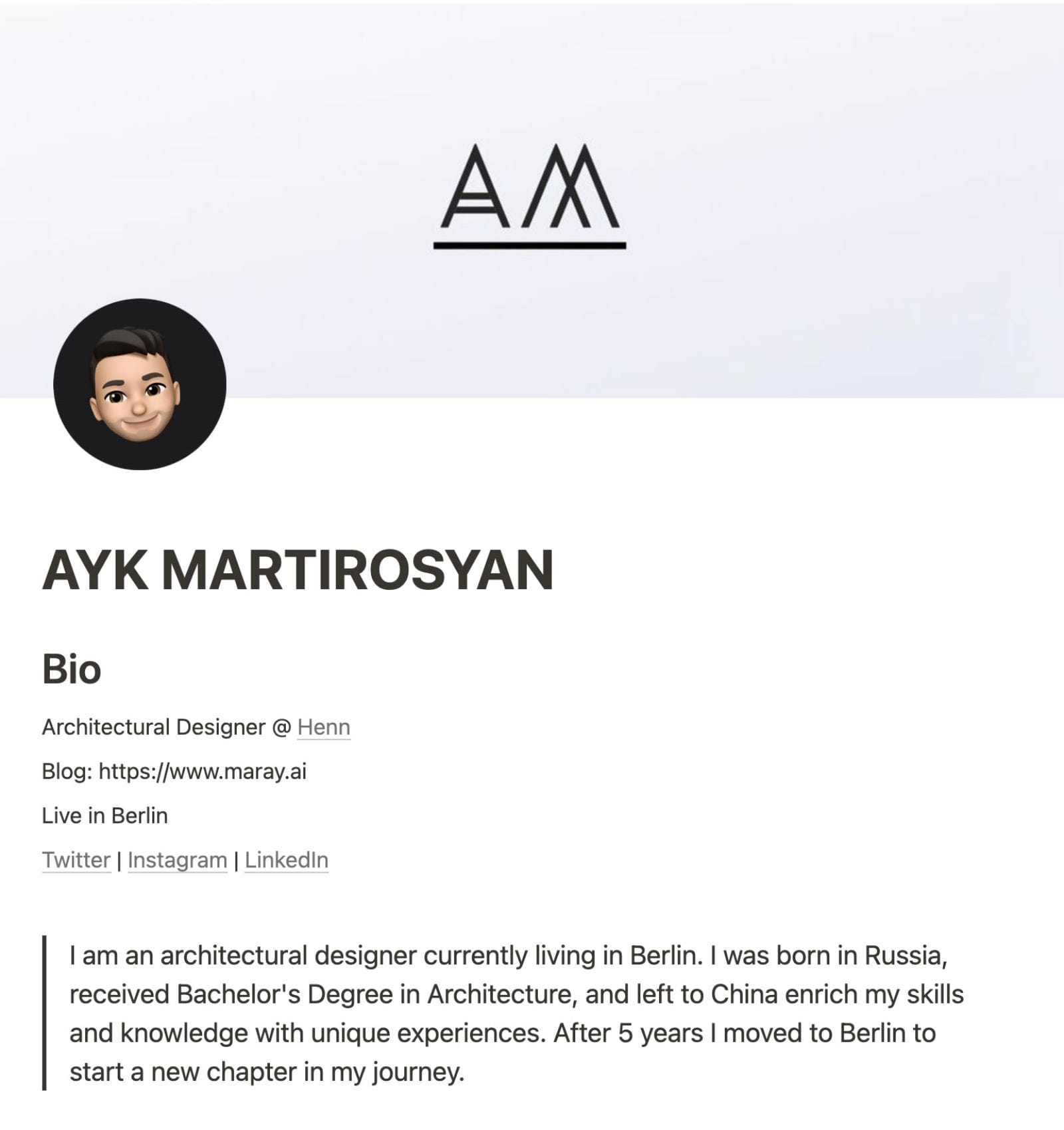 Main page of the resume.