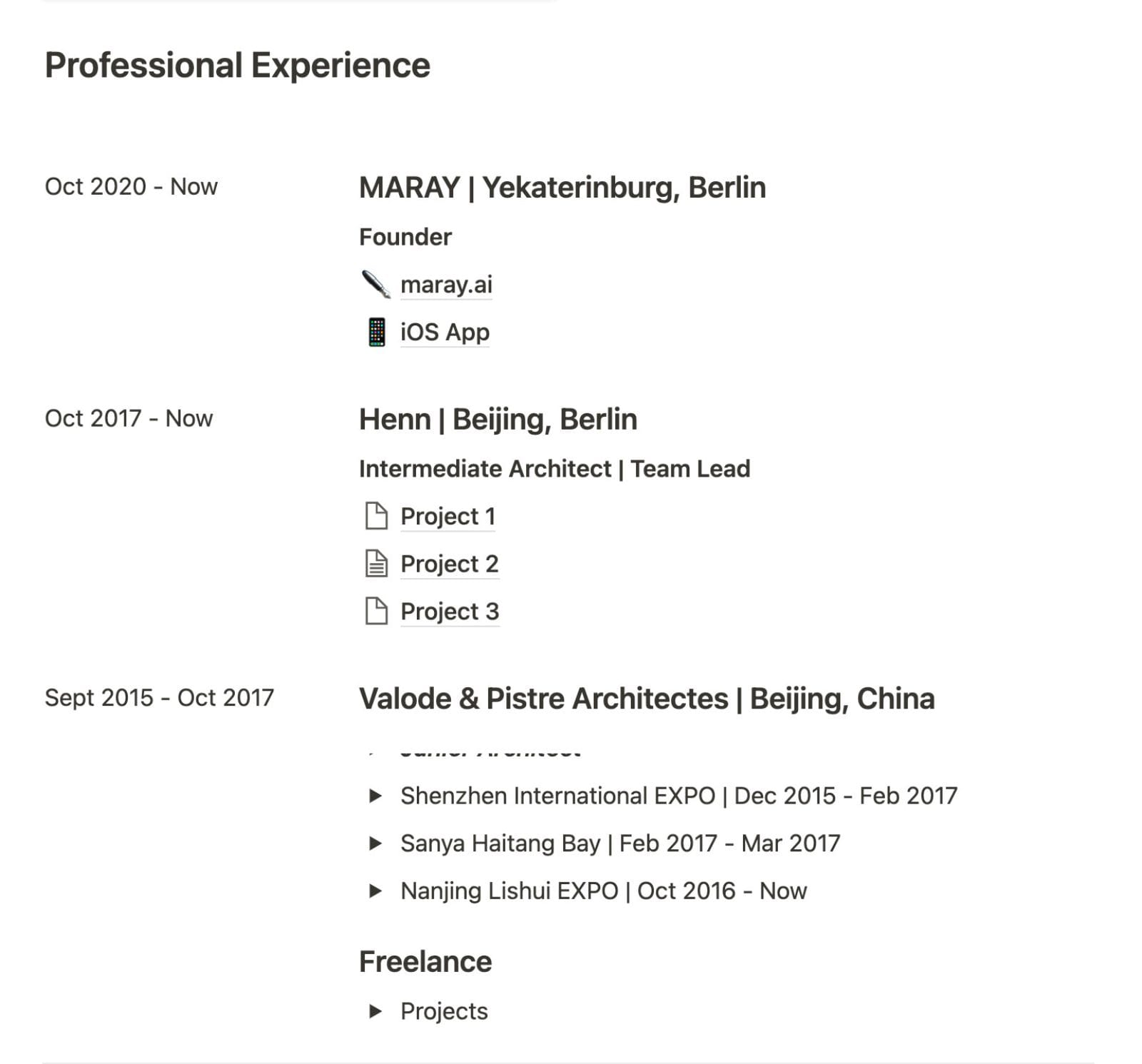 Professional experience section in the resume.