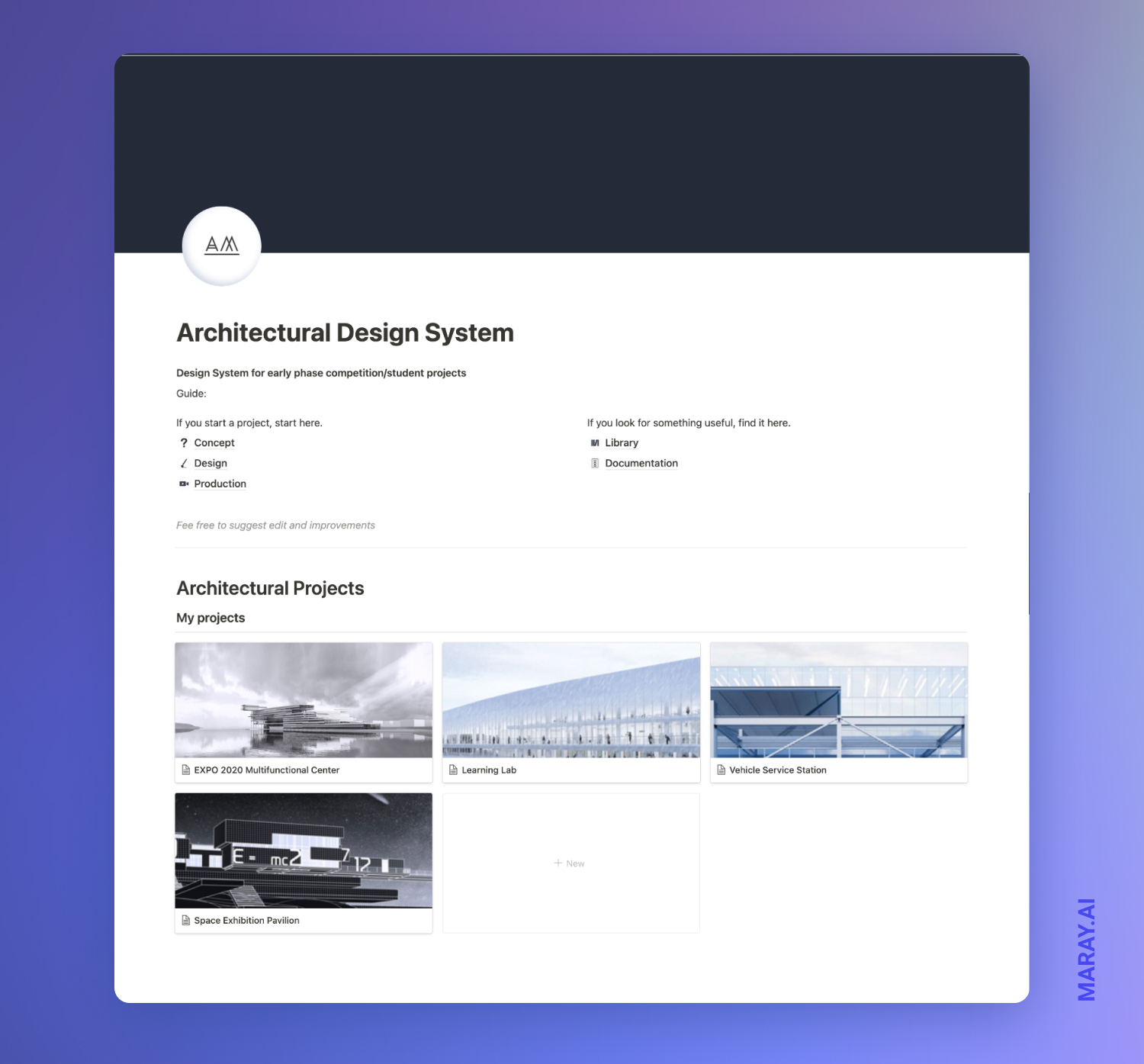 Design system main page in Notion.
