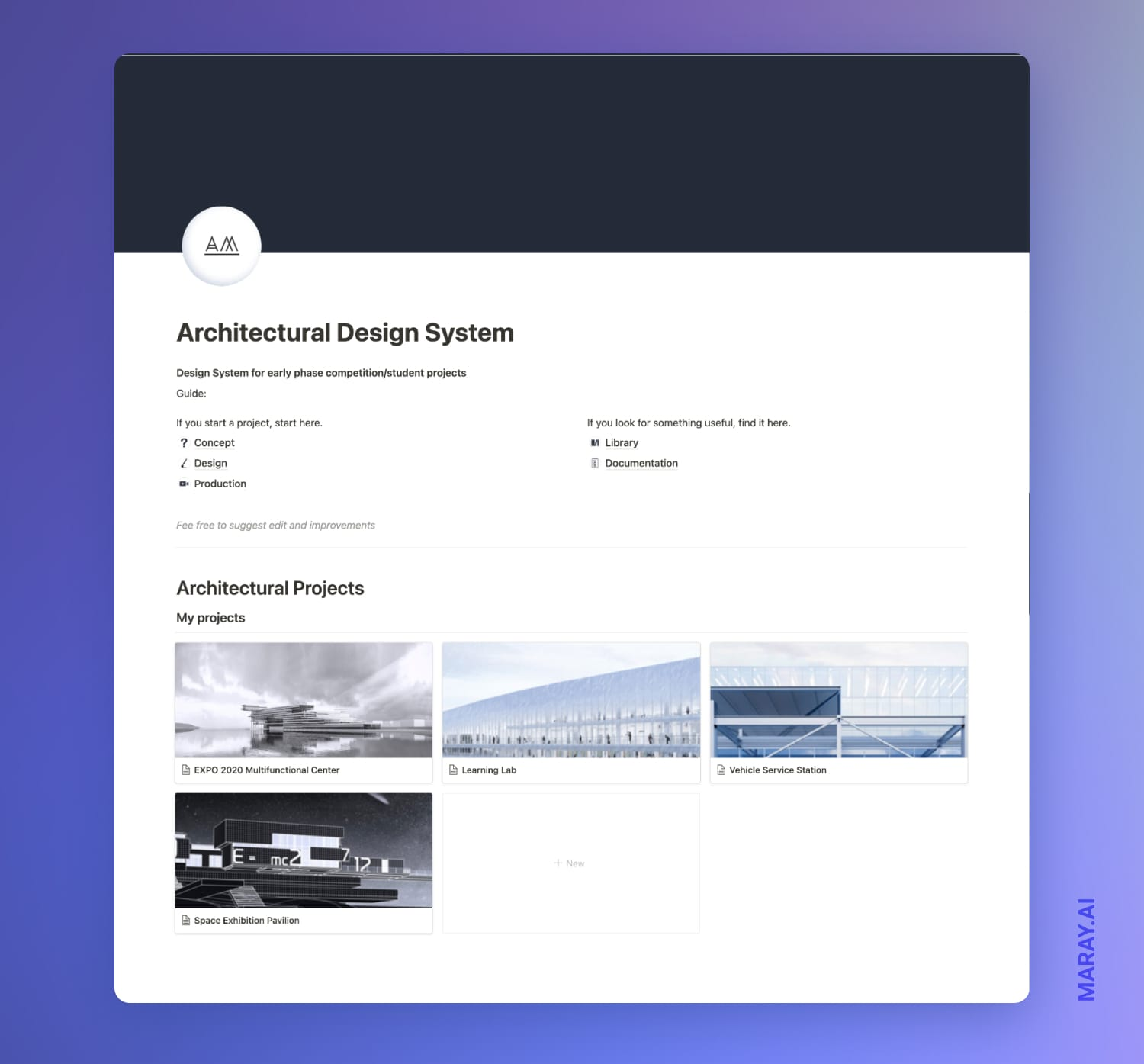 Architectural design system I am building in Notion.