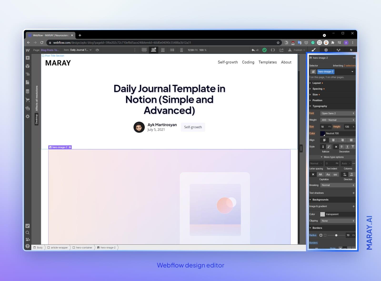 Webflow editor interface showing maray.ai blog.