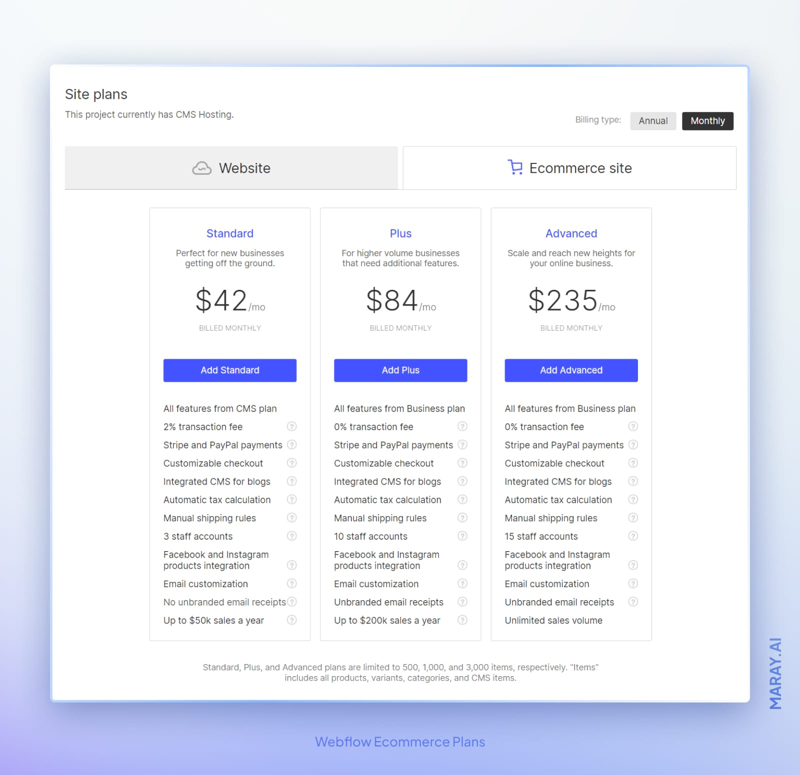 Webflow's pricing for ecommerce site plans.