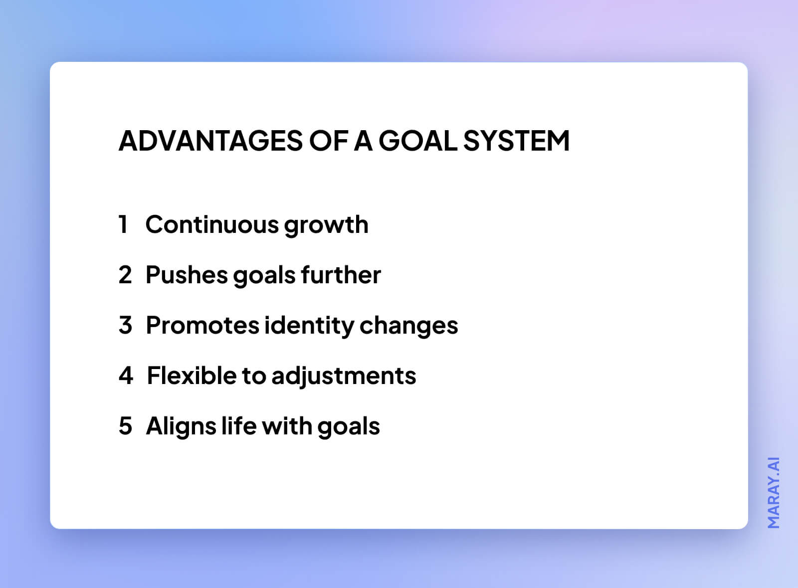 5 advantages of using a goals system.