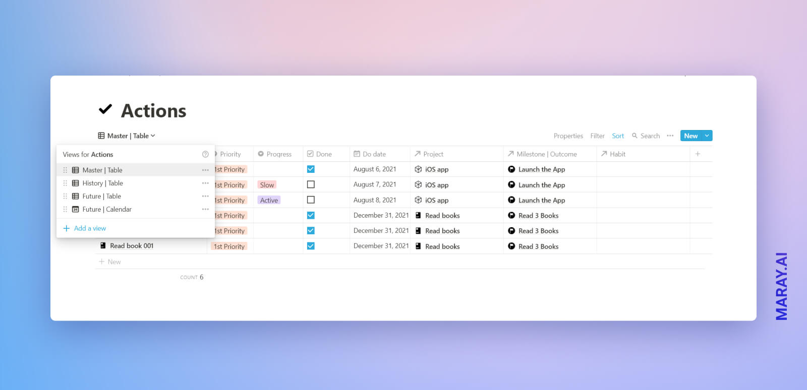 GTD Actions database in Notion.