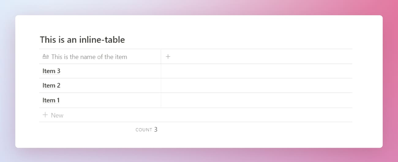Notion tutorial inline-table example.
