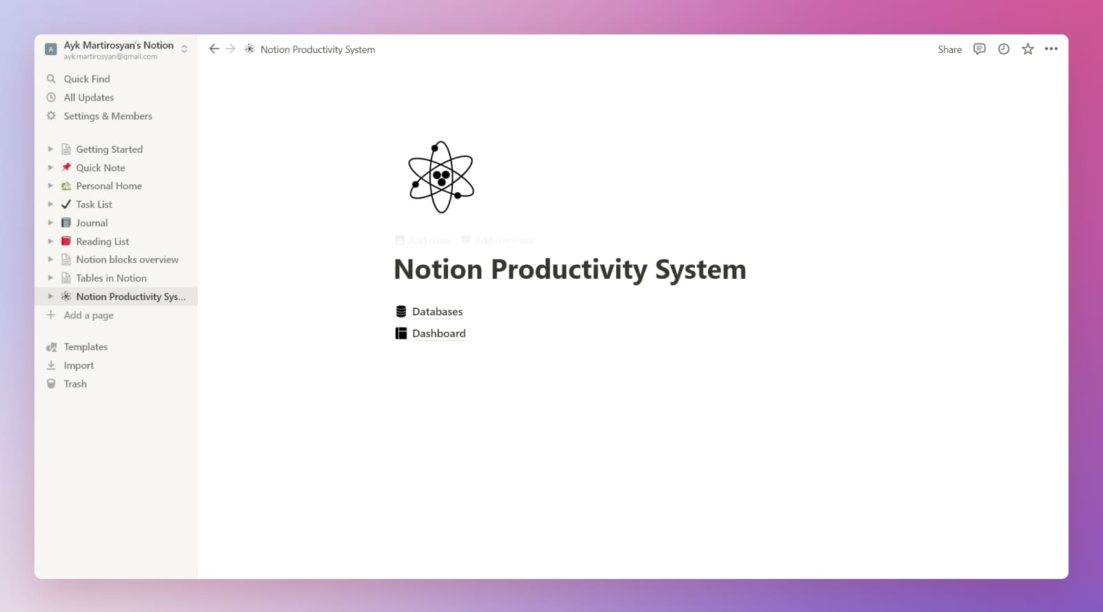 Notion beginner's productivity system main page.