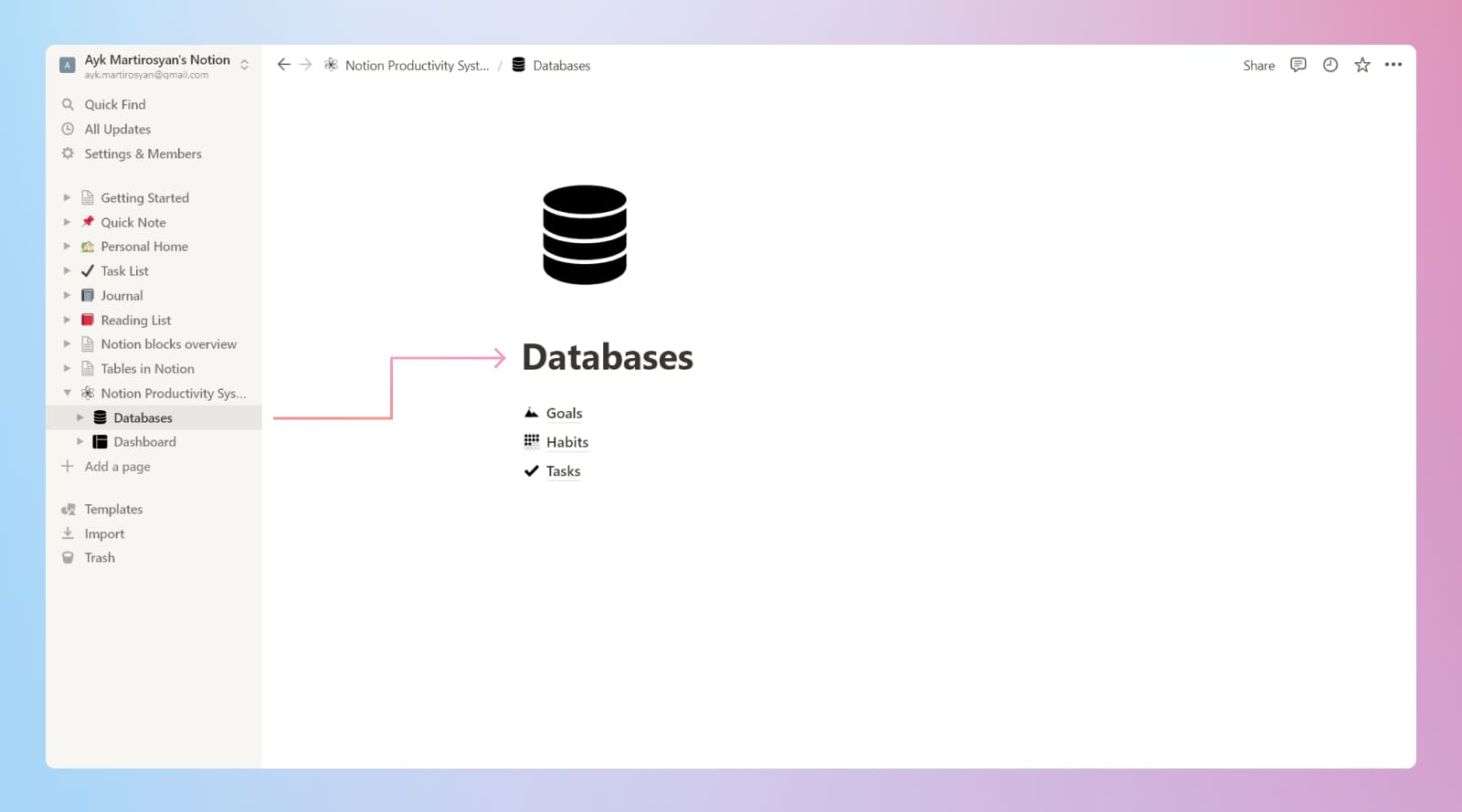 Notion beginner's productivity system databases page.