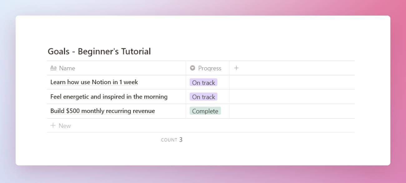 Notion beginner's productivity system goals database.