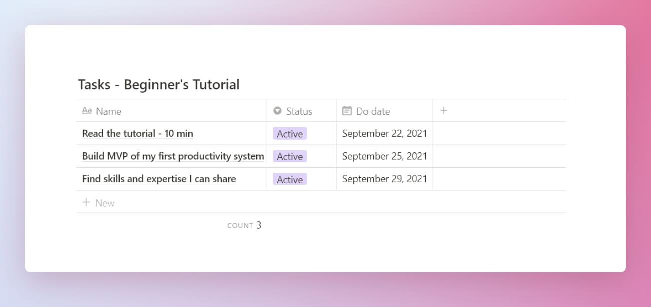 Notion beginner's productivity system tasks database.