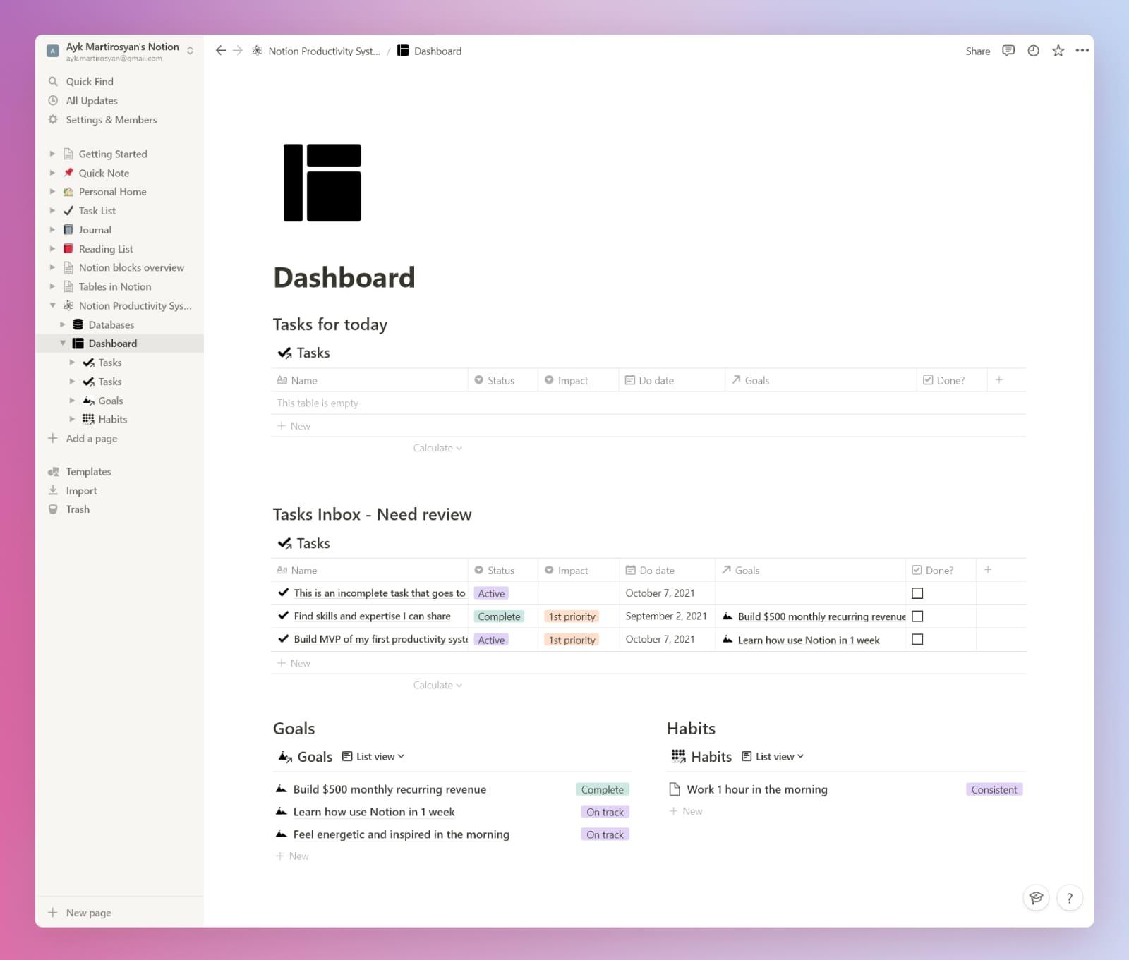 Notion beginner's productivity system dashboard.