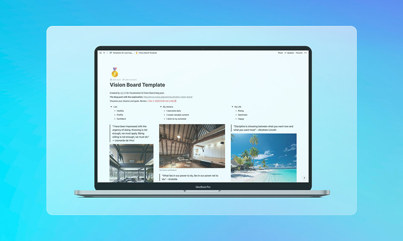 Free vision board template in Notion