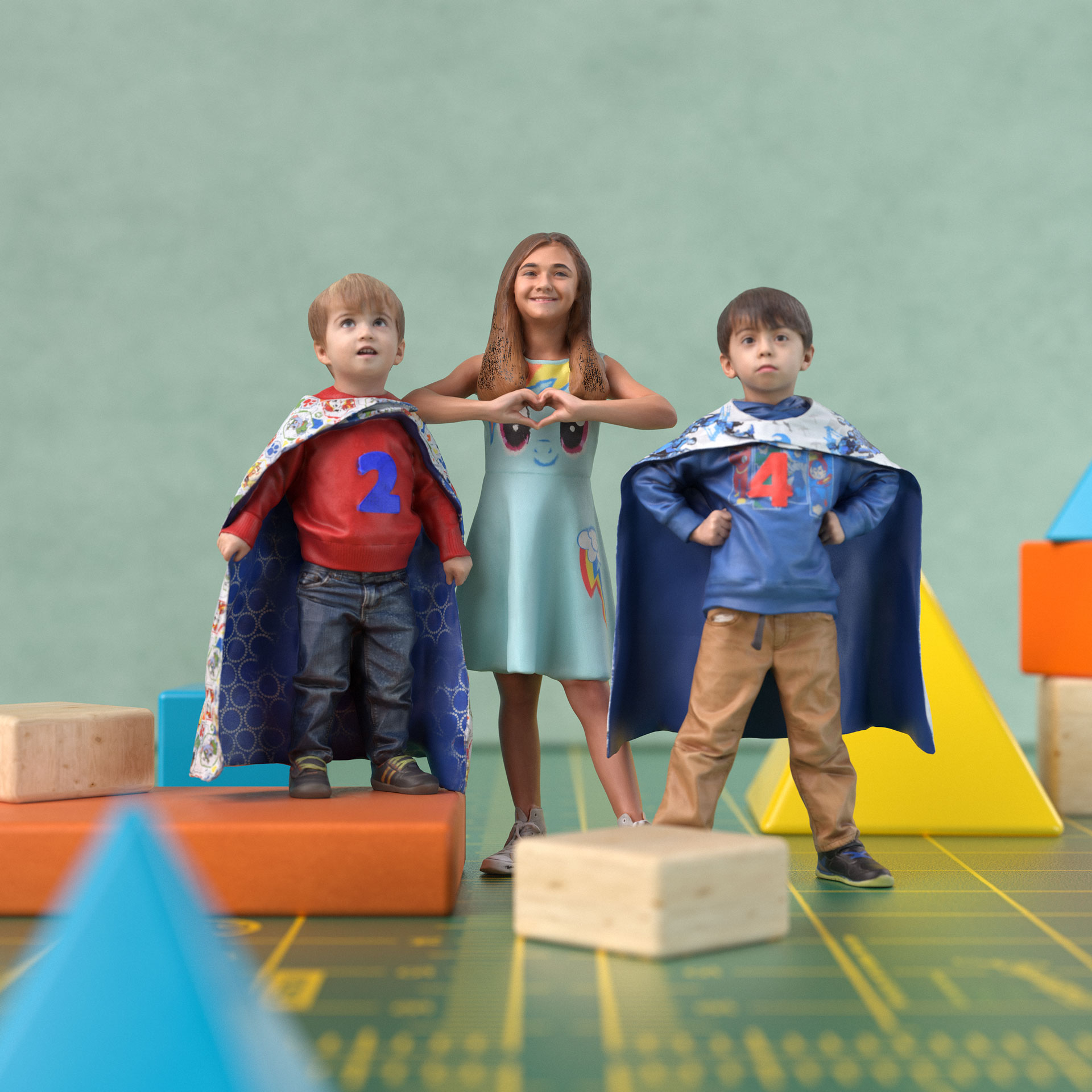 two brothers dressed as super heroes and their sister in a dress.