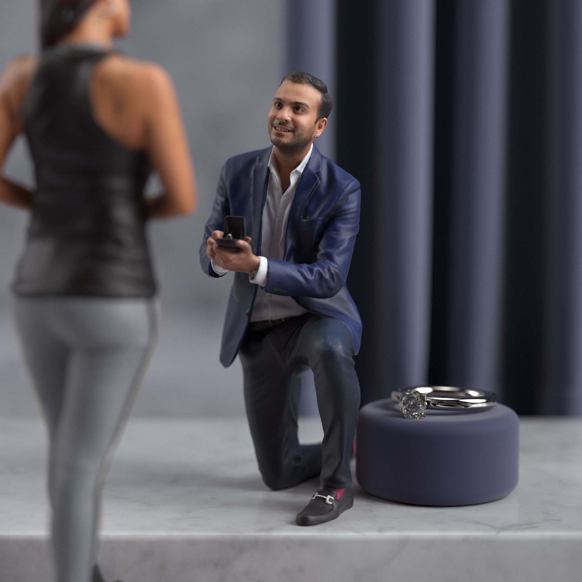 a man proposing with a ring