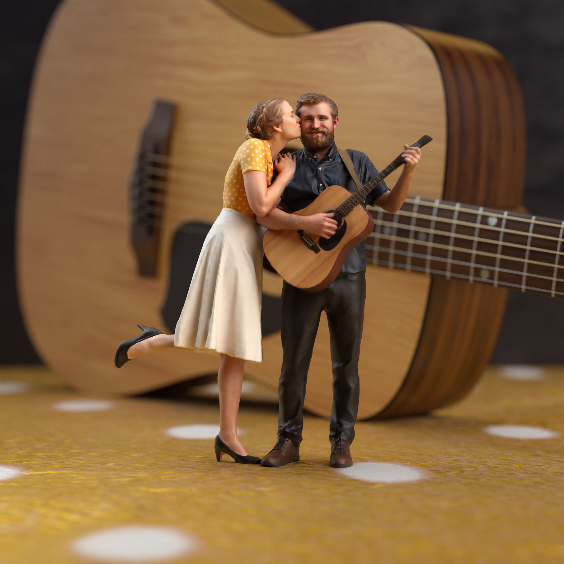 a woman kisses a man on the cheek while he holds a guitar