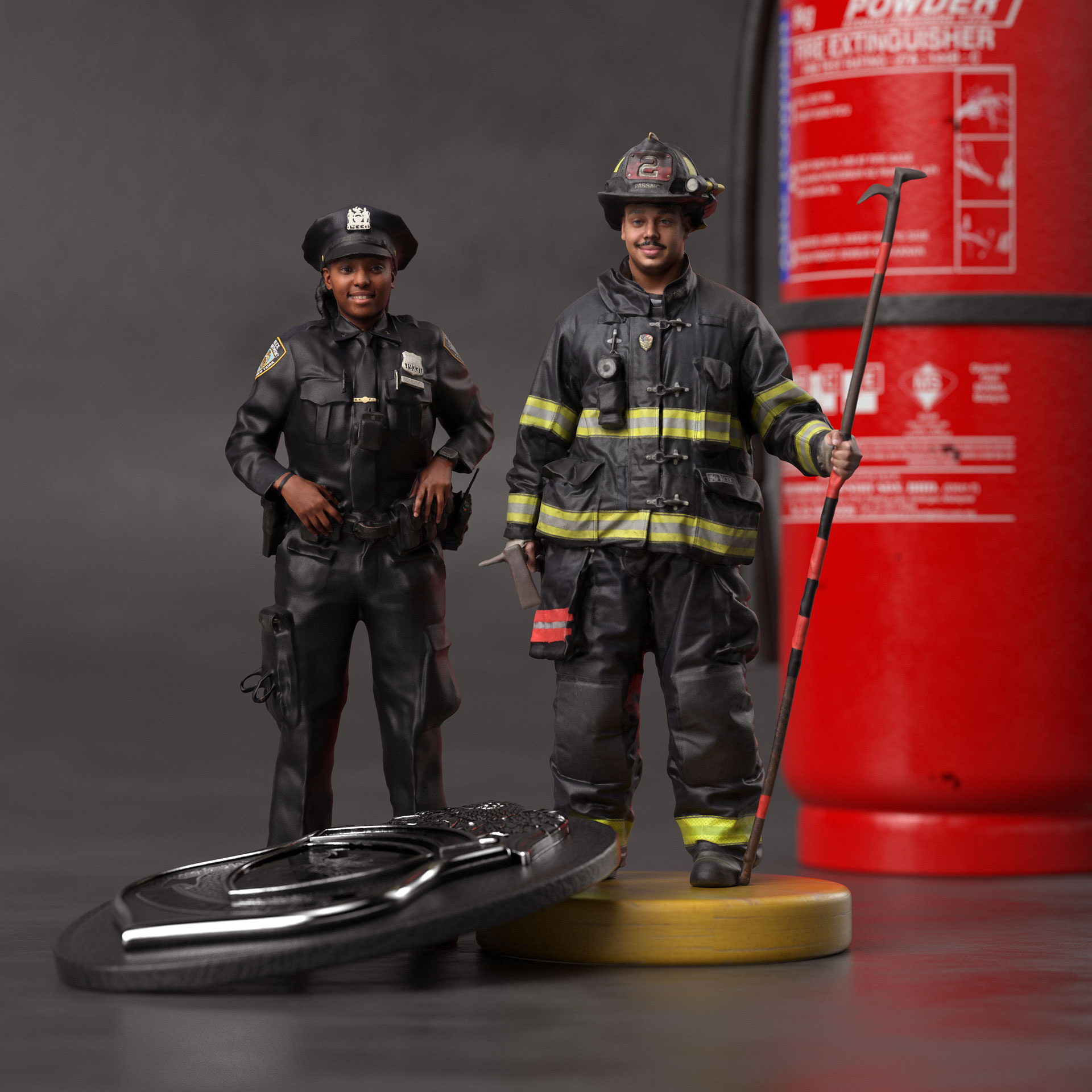a firefighter and a police officer