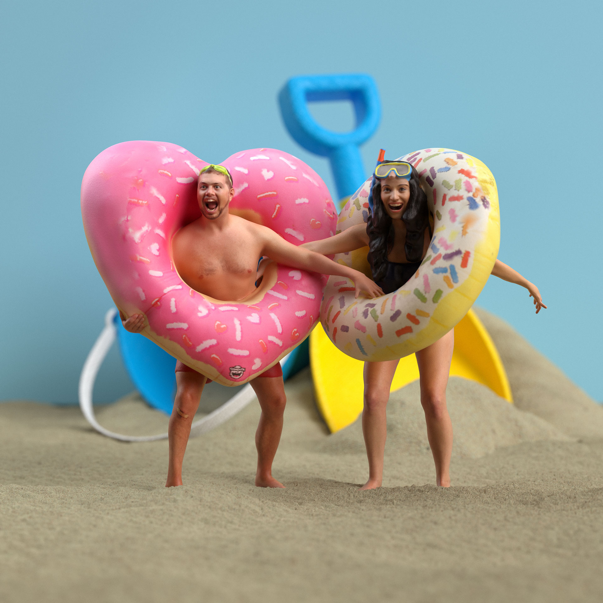 A couple holding pool floaties.