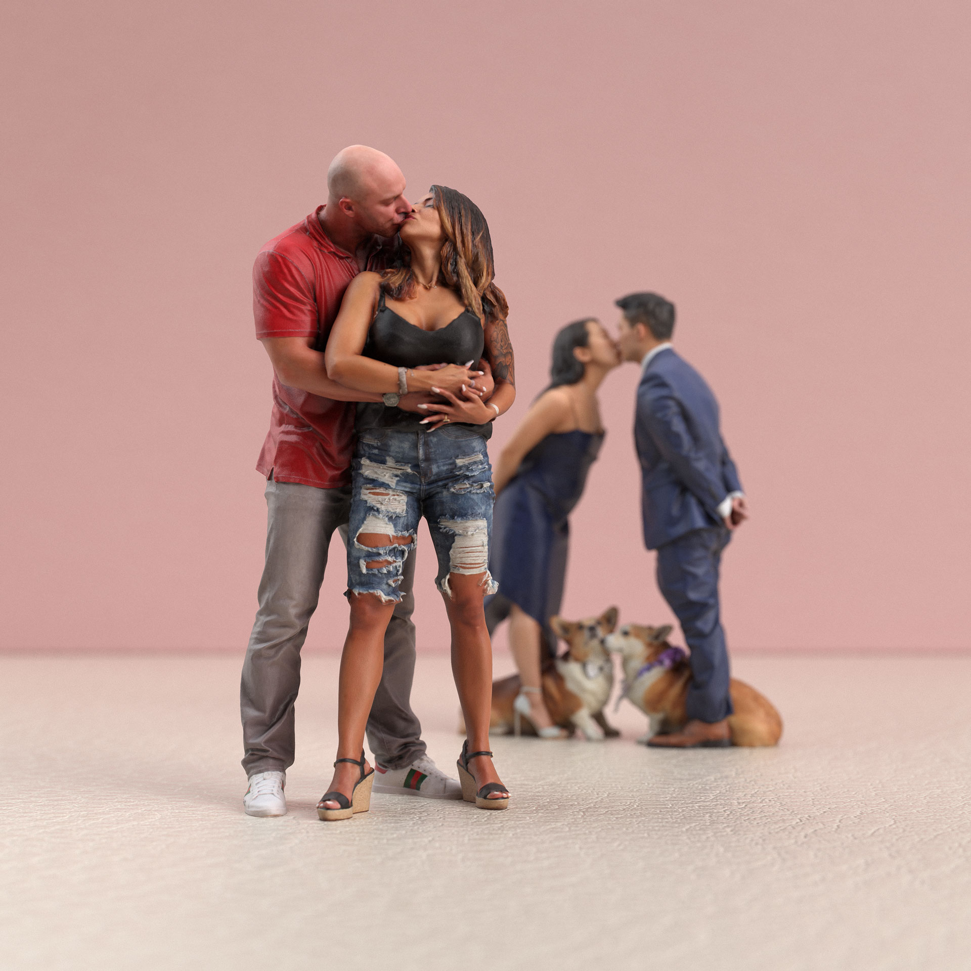 two couples kissing.