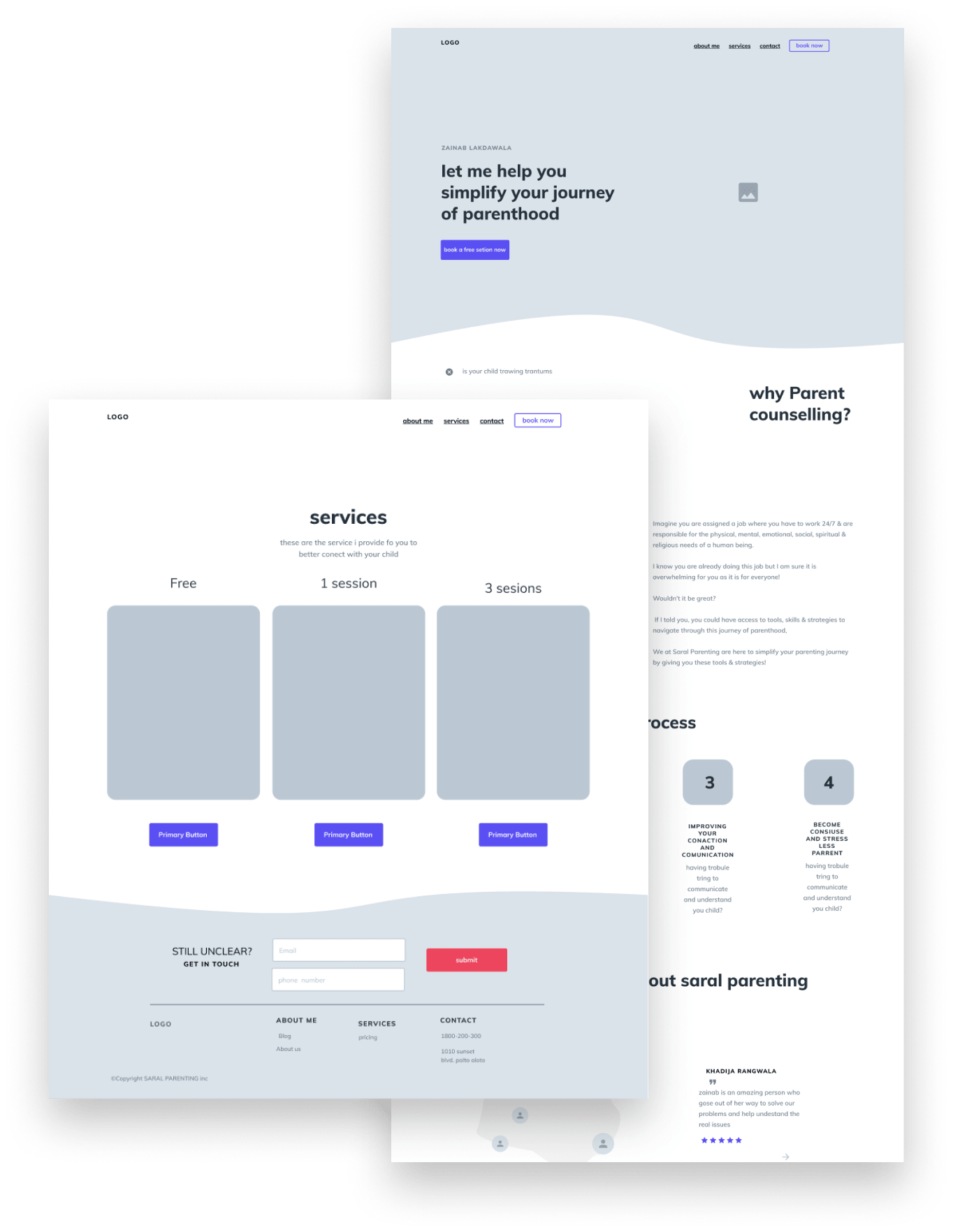 Saral parenting wireframe