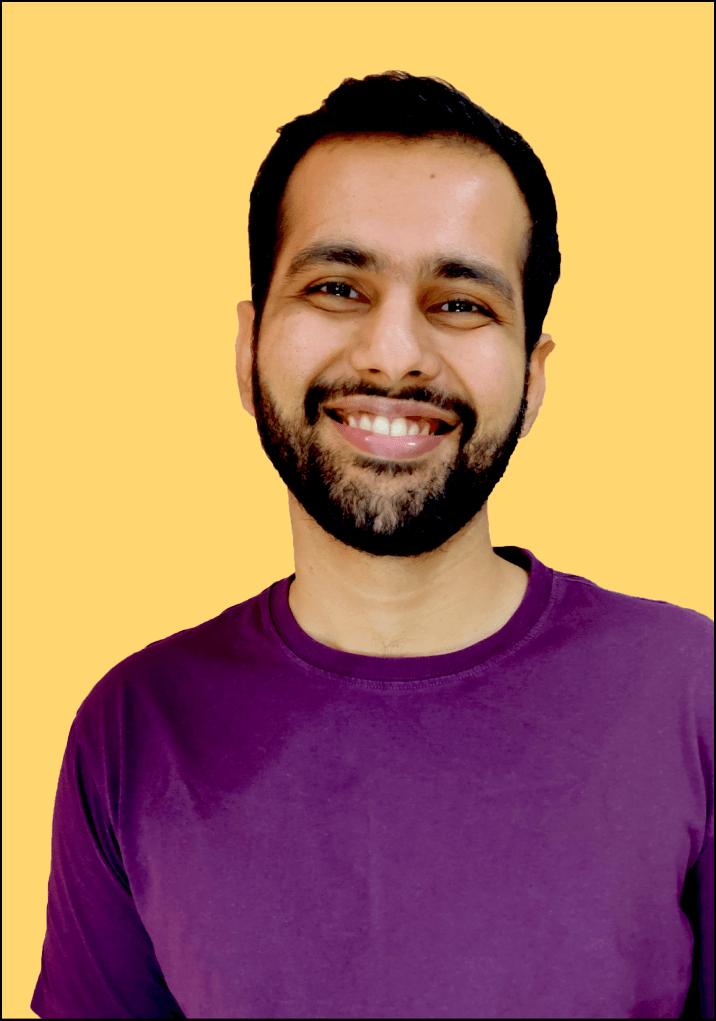 Image of Ibrahim Lakadwala - smiling with yellow background