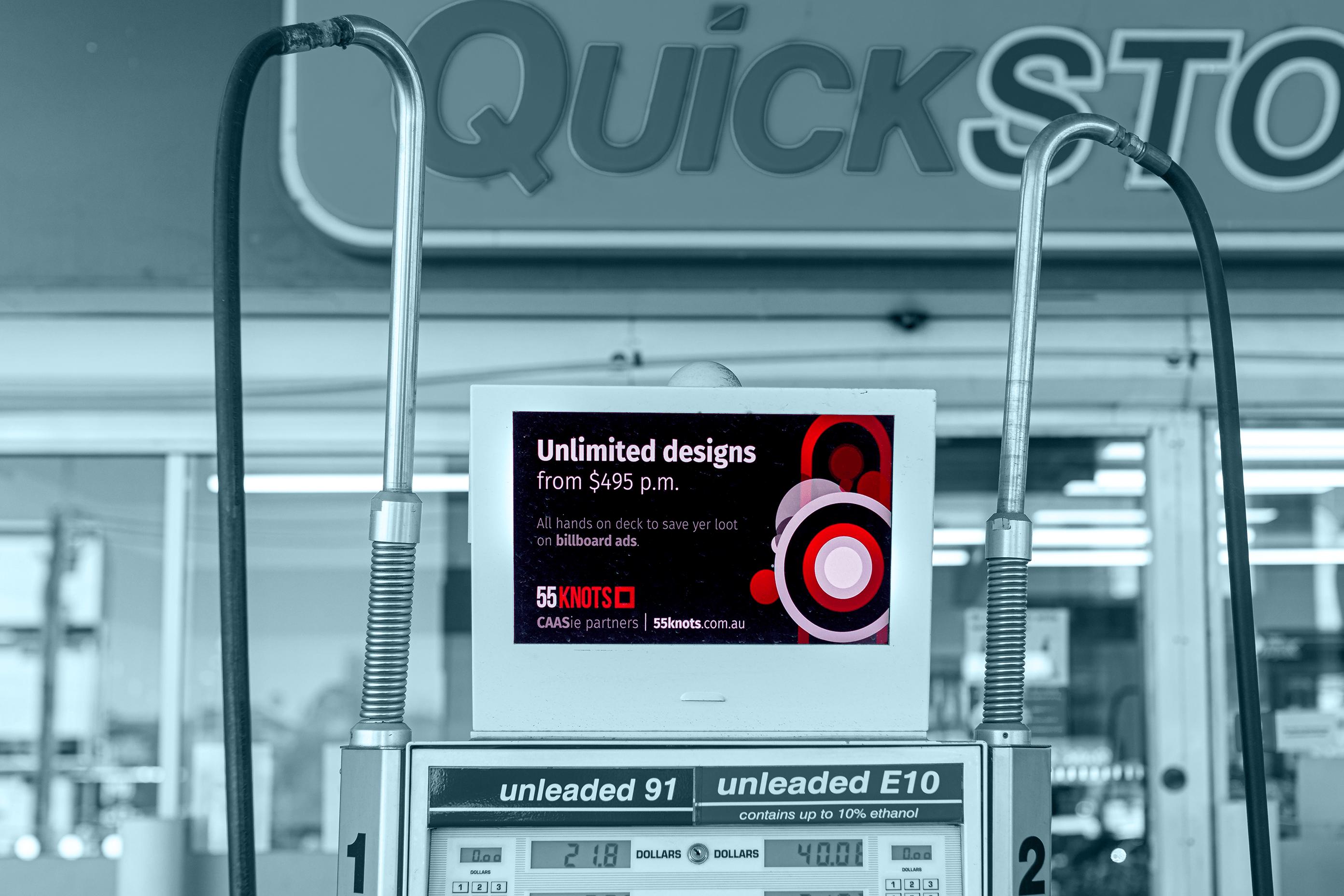 Fuel station billboard ad in Sydney.