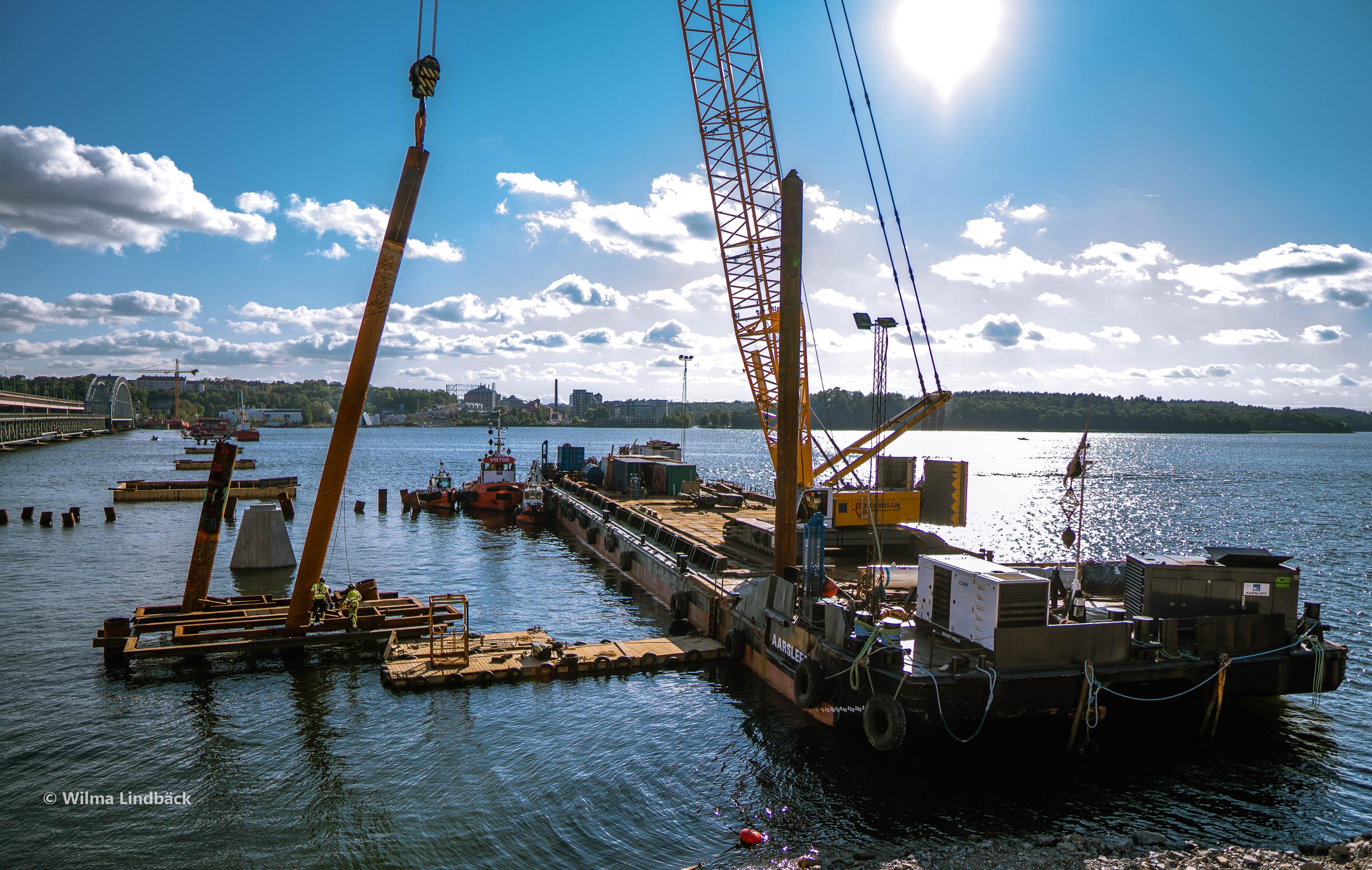 Lidingö Bridge pile work