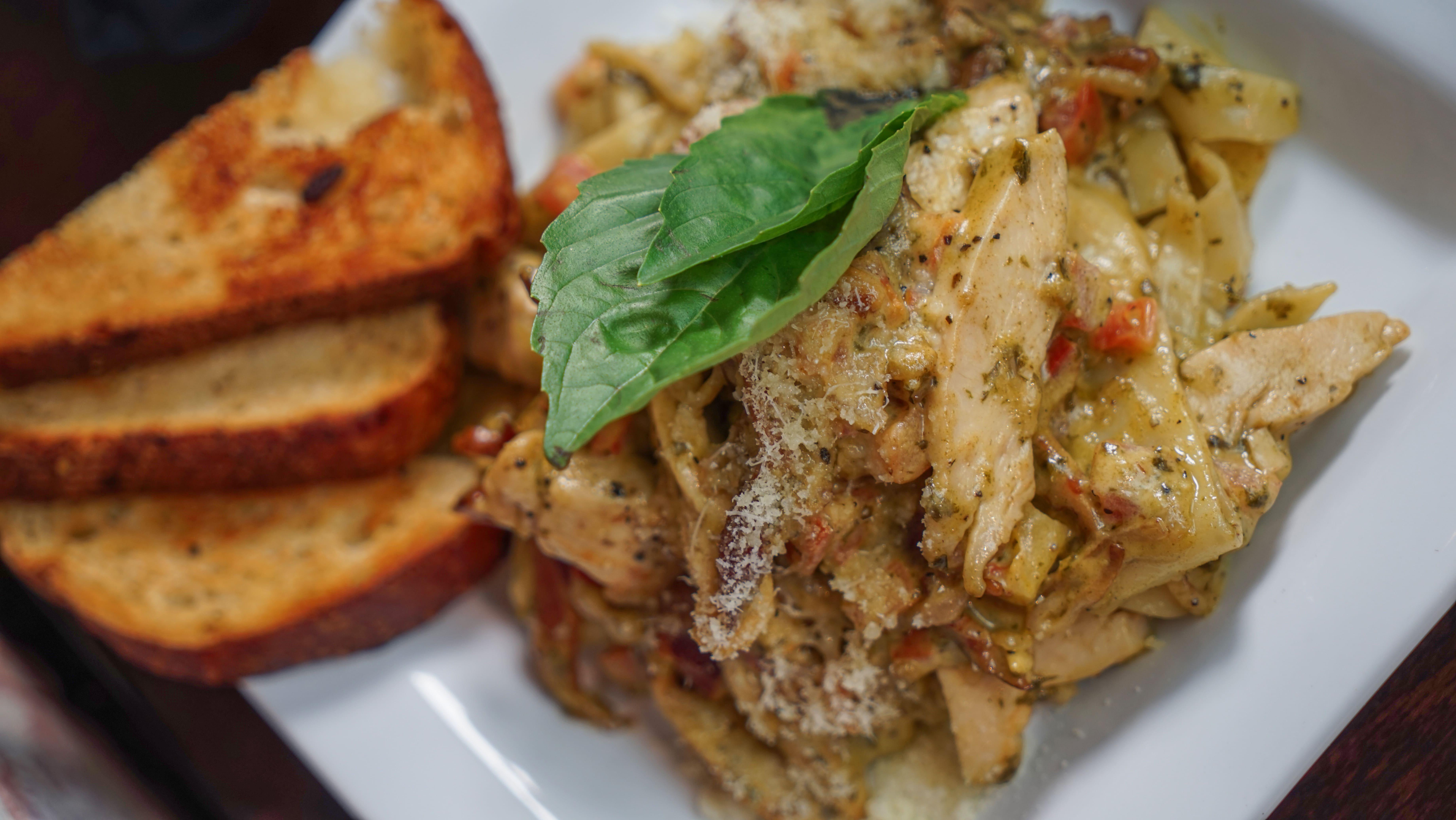 food- roast chicken and pesto linguini