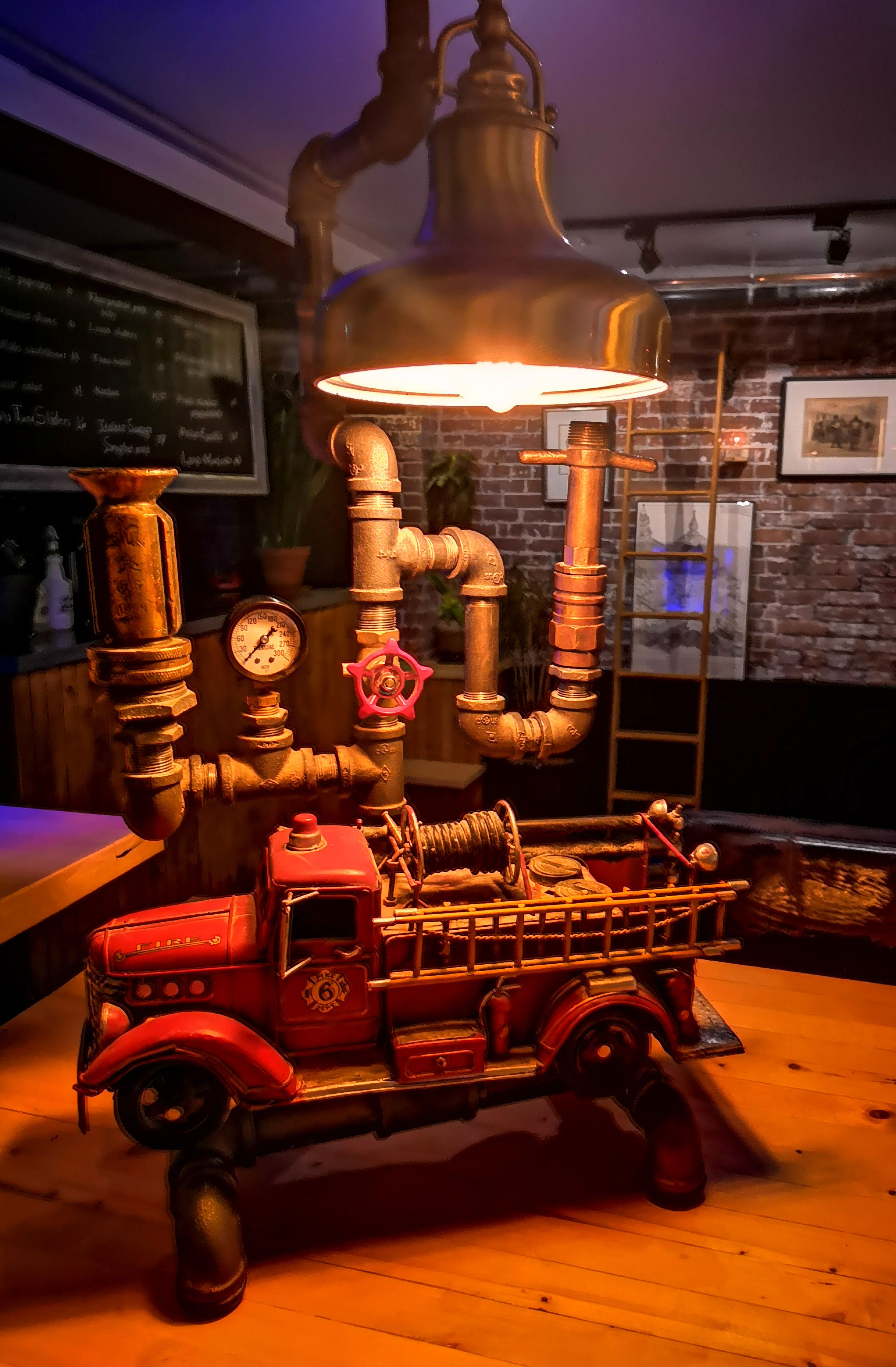 hand-made, industrial, fire truck lamp