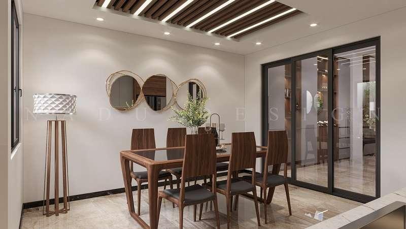 Mẫu thiết kế nội thất gỗ óc chó nhà phố, phòng ăn gia đình anh Hải.