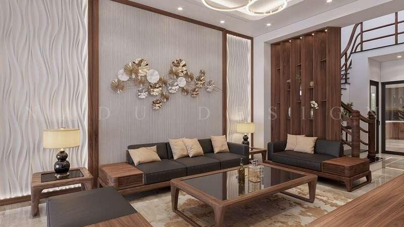 Thiết kế nội thất phòng khách gỗ óc chó nhà phố