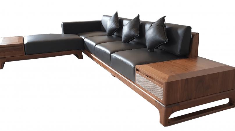 Sofa gỗ óc chó mẫu 4