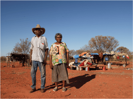 Banjo and a woman from the community at Honeymoon Bore