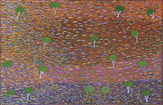 Paitning by Lilly Morton Kemarre showing brightly colored flowers and small bushes used in bush medicine