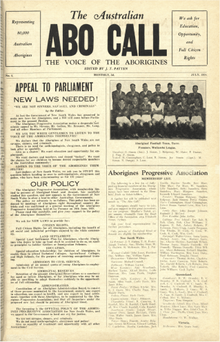 Photo of the Australian ABO Call, The Voice of the Aborigines letter from 1938