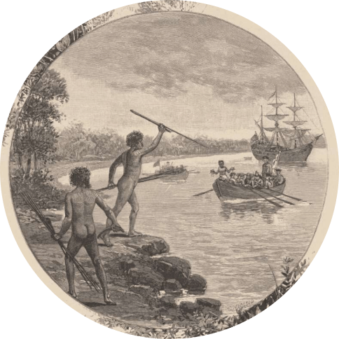 A black and white painting of two Aboriginal people standing on shore with a boat of people approaching