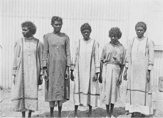 A black and white photo of five Aboriginal women at a station, Borroloola region, Northern Territory, 1911