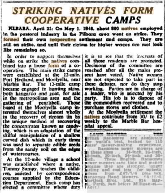 """A photo of an article from 1946 titled """"Striking Natives Form Cooperative Camps"""""""