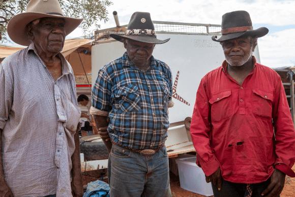A photo of three Alyawarra men