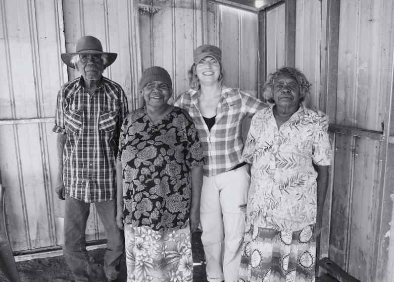 A black and white photo from left to right: Banjo Morton, Angelina Luck, Lara Damiani, Lily Morton