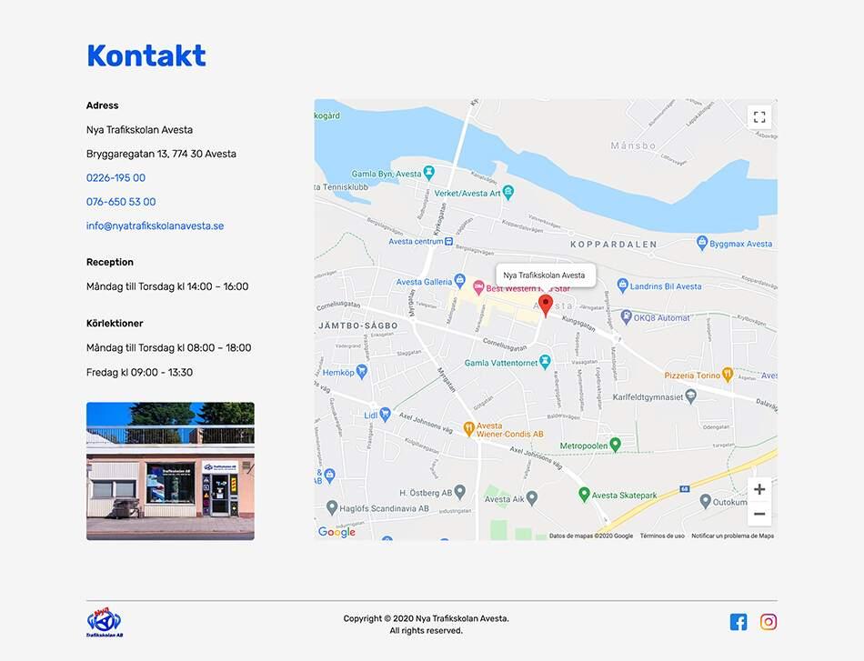 Karta för Nya Trafikskolan Avesta