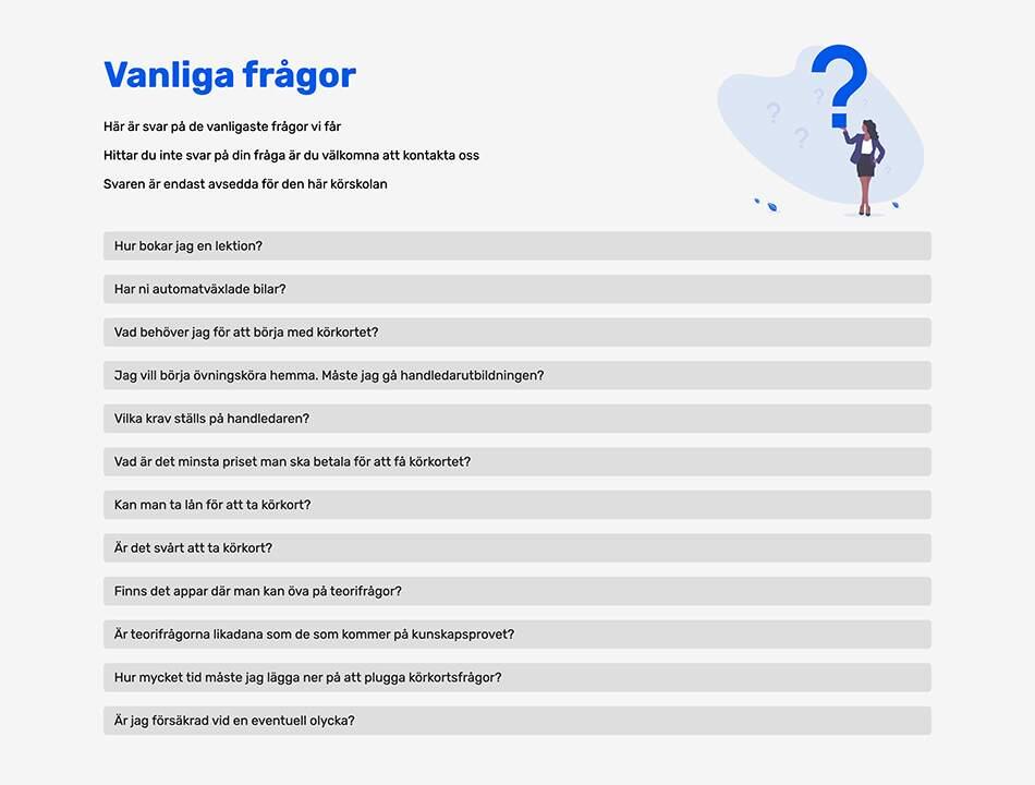Frågor och svar för Nya Trafikskolan Avesta